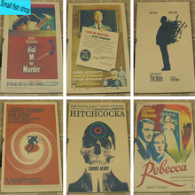 Psycho Notorious North by Northwest Hitchcock Home Furnishing decoration Kraft Movie retro Poster Drawing core Wall stickers