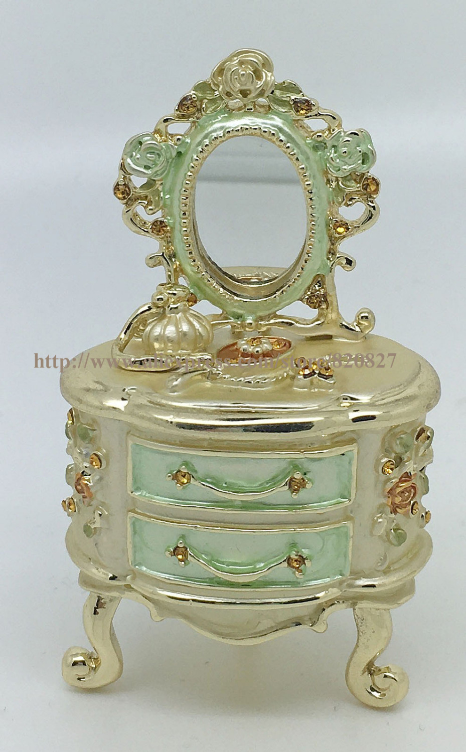 Fortune Series Trinket Box Makeup Desk with Mirror Storage Box Antique Dresser Shaped Jewelry Box Europe Dressing Table Trinket