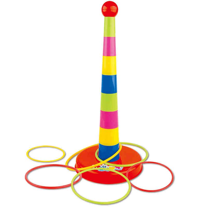 Mutlu çocuk babalık spor oyunları yığılmış katmanları yüksük oyuncaklar kreş oyuncakları atma yüksük