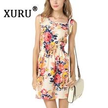 цены на XURU Summer New Women's Floral Chiffon Dress Big Swing Sleeveless Strap Print Large Size Dress Fashion Casual Dress S-2XL в интернет-магазинах