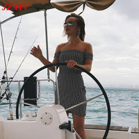 JZAYV Elegant Grey Sexy Summer Dress Women Slim Dress Red Off Shoulder Fashion Dress Vestidos De