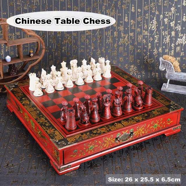 32 pièces/ensemble bois échecs chinois rétro terre cuite Chessman échecs bois faire vieux sculpture résine Chessman anniversaire cadeau de noël 1