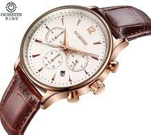 OCHSTIN reloj de Moda de Los Hombres de Negocios reloj de Cuarzo dial Grande correa de cuero reloj Pequeño de tres clavijas pantalla de calendario resistente al agua reloj