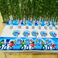 Hot Hot Hot61pcs PJ Masks Party Supplies Plate Cup Tablecloth Knife Fork PJ Masks Birthday Party