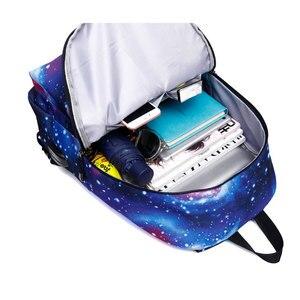 Image 5 - Erkekler tuval okul dizüstü sırt çantası Galaxy yıldız evren uzay USB şarj gençler için erkek öğrenci kızlar çanta seyahat Mochila