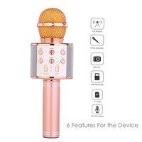 wlngwear WS858 Bluetooth Microphone Wireless Karaoke Microphone Condenser Magic Microphone KTV Singing Speaker Player Mic