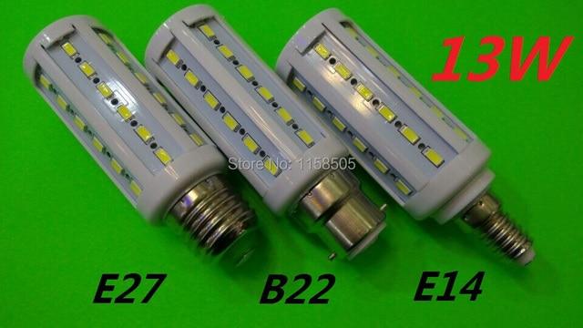 NEW High Bright 13W LED lamps E27 B22 E14 44 LEDs 110V/220V/AC High Quality 5630/5730 SMD Corn LED Bulb Ceiling light 2pcs
