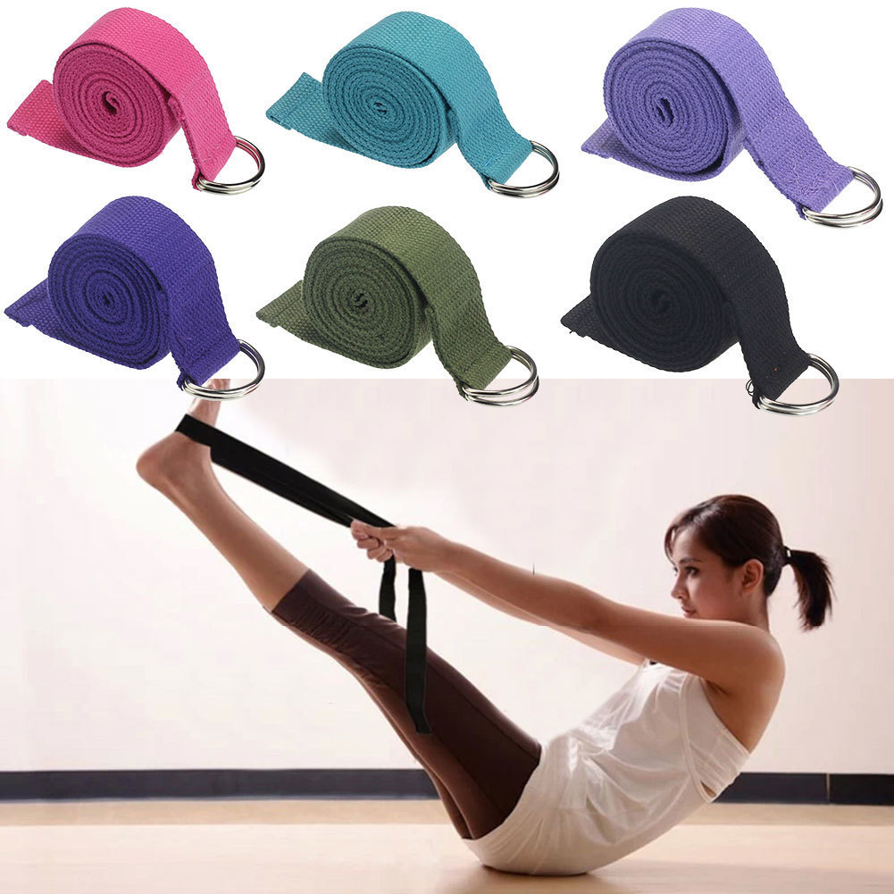Yoga Stretch Strap  New Multi-Colors Women D-Ring Belt Fitness Exercise Gym