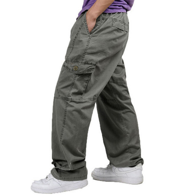 26f55855a25 XL-6XL Plus Size Men s Cargo Pants Casual Loose Trousers Men Multi Pocket  Military Overall