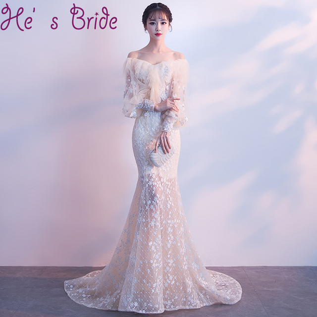 Evening Dress Elegant Champange Boat Neck Long Sleeves White Lace Up Back  Sweep Train Tulle Lace Beading Party Prom Dress 0d1adfcd3c50