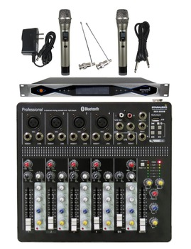 STARAUDIO  Pro Stage DJ Club KTV 6 Channel Mixer Mixing Console with 2CH UHF Wireless IR Handheld Microphone System SMX-6000B