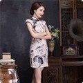 Vintage Cheongsam Chinese Women Elegant Dress Linen Slim Short Qipao Plus Size Evening Vestidos Oriental Abendkleider Cheongsam
