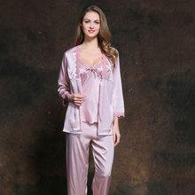 e29d01c4bf Plus size women sexy lace Satin Pajamas sets for Women Elegant 3 Pieces  long sleeve Sleepwear