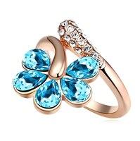 Luksusowe Oryginalne Kryształy z Swarovski Złoty Kolor Lato Flower Rings Dla Kobiet Środowiskowa Anti Alergii Nowa Sprzedaż Prezent