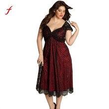 Plus Size Women Sleeveless Lace Long Evening Dress
