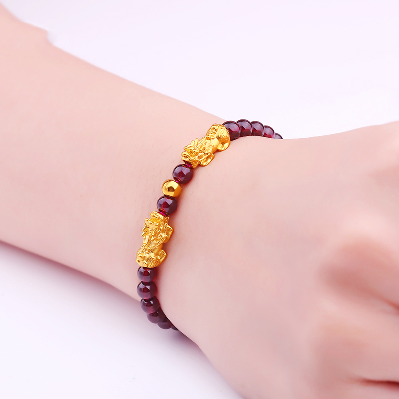 Hot Sale Pure24K Yellow Gold Bracelet Woman 14*6mm 3D Two Lucky Pixiu Link Agate