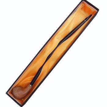 Tubos de madera para fumar con caja de regalo de mango largo de madera fumar cigarrillo Pipa para tabaco fumar pipa de tabaco
