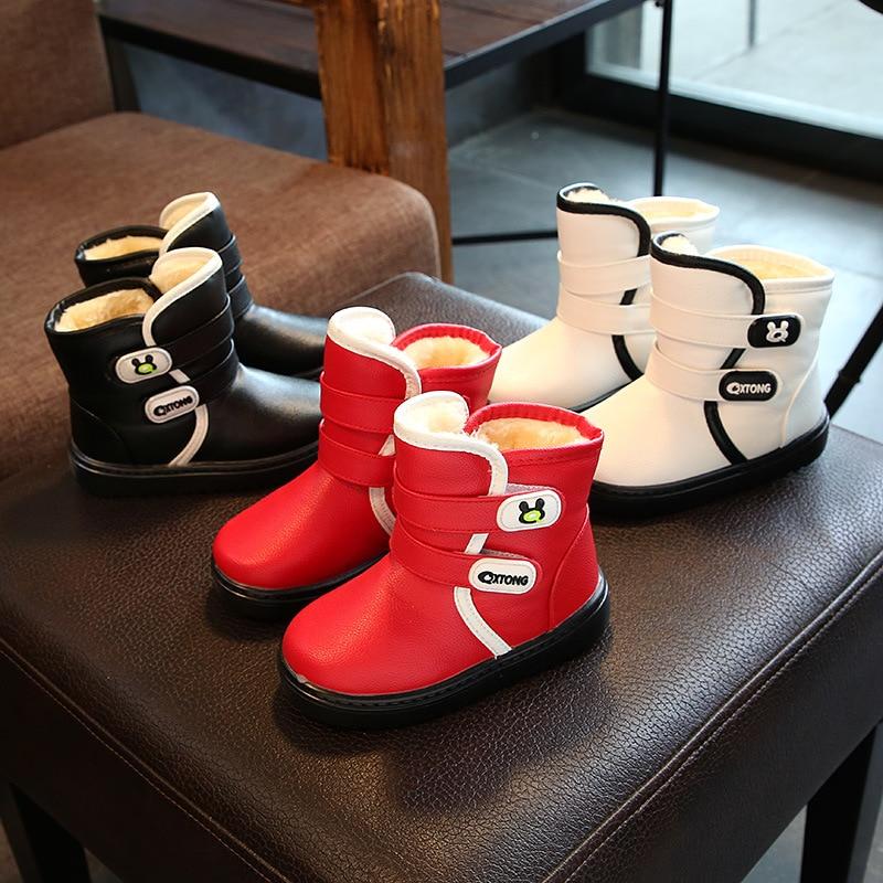 Осень новинка зимы плюс кашемир Обувь для девочек Обувь для мальчиков теплый водонепроницаемый Невысокие туфли Снегоступы ботинки из нату...