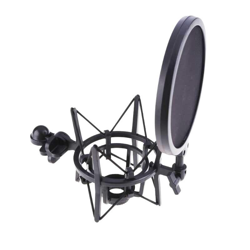 Mic Shock Mount with Pop Shield Filter 180 Degrees Adjustment Holder Stand Bracket For Sound Recording Karaoke