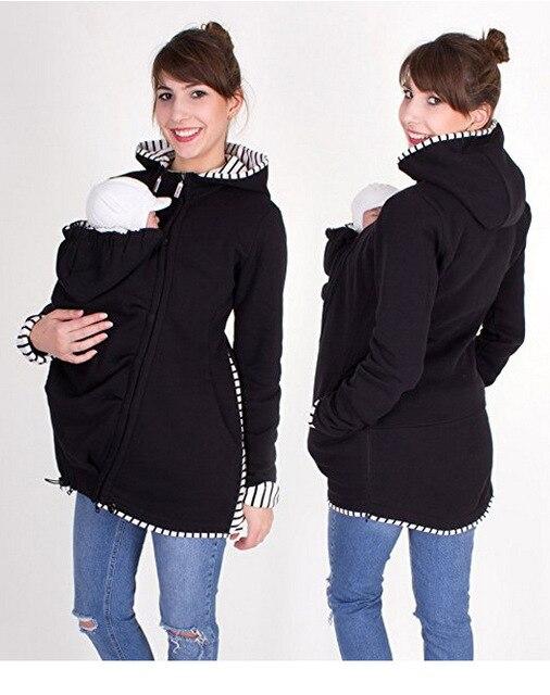 Warm Cotton Women's Maternity Carrier Baby Holder Jacket Kangaroo Carrier Baby HolderJackets Hoodies Outwear Pregnancy Coat 2