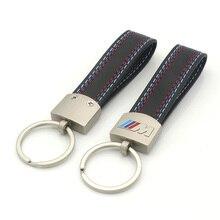 Fashion leather Metal Car ///M Logo Key Ring Key Chain For BMW Tech M E46 E39 E60 F30 E90 F10 E36 X5 E30 E34 Key Case Key Holder