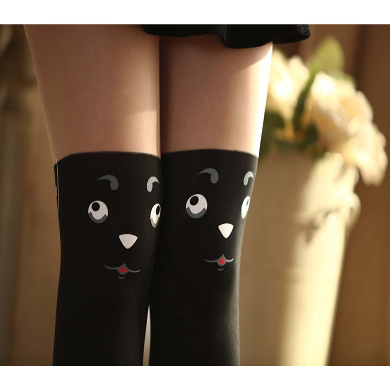 48dfe48c01e Aliexpress.com   Buy Lolita Women s Tights Cute White Pantyhose Print  Kawaii Stockings Female Splicing Fake Cosplay Maid Outfit Japanese from  Reliable ...