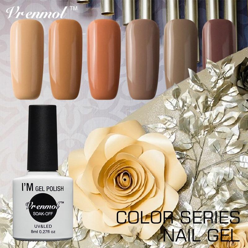 Vrenmol 1pcs Varnish Elegant Brown Series Color Nail Gel Polish Soak Off Primer Top Base Coat Needed DIY Manicure Set