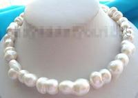 Бесплатная доставка> из натуральной 26 мм белый Близнецы жемчужное Цепочки и ожерелья!