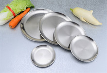 High quality Korean 304 stainless steel Round steak plate tray single layer hairline finish mirror steak tray BBQ tableware Dish