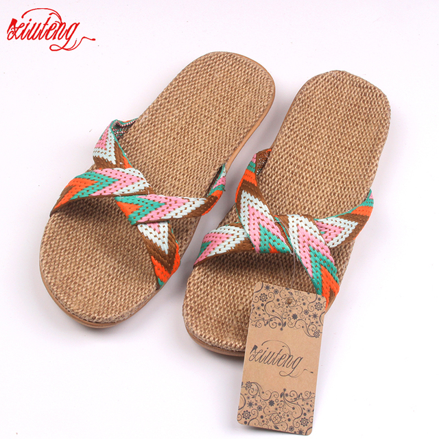 2019 Fashion Flax Home Slippers Indoor Floor Shoes Cross Belt Silent Sweat Slippers For Summer Women Sandals 2