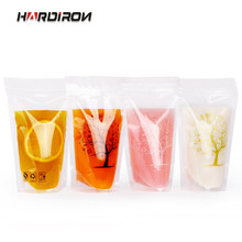 200pcs Transparent Clear Color Standing Beverage Bags Thick Self-seal Drinks Pack Drink Pouches Plastic Drink Bag with Straw(China)