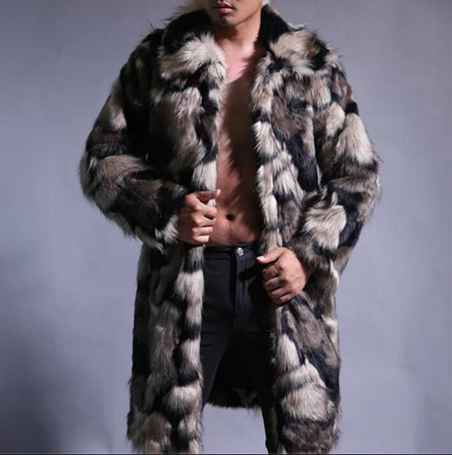 0ef7a7f623c8 Warm casual faux mink rabbit fur coat mens leather jacket men coats villus  winter loose thermal hooded outerwear fashion singer