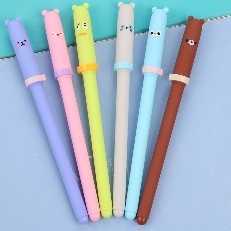 0.38mm Cute Kawaii Plastic Gel Pen Cartoon Bear Canetas For Kids Writing Gift School Supplies Free Shipping 3614 kawaii cartoon cat erasable pen cute dog gel pens for kids writing gift office school supplies free shipping 3931