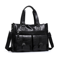 Men S Classic Top PU Leather Business Handbag Briefcase Shoulder Messenger Satchel Bag For Laptop Macbook