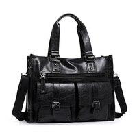 Men S Classic Top PU Leather Business Handbag Briefcase Shoulder Messenger Satchel Bag For Laptop Macbook