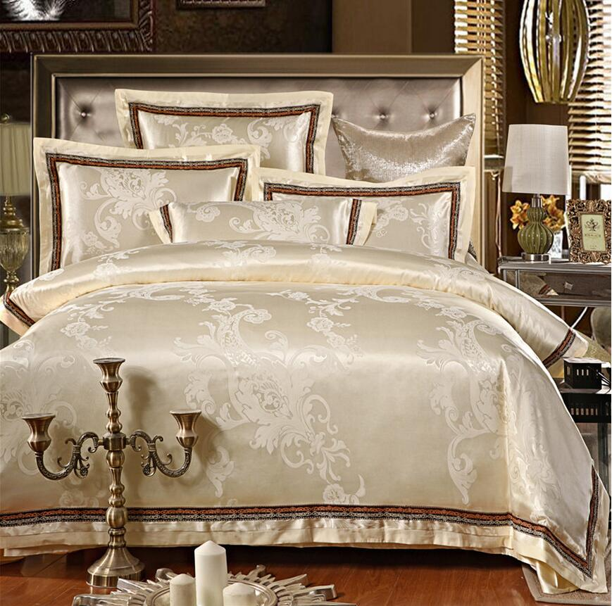 Jacquard Silk Bedding Set Luxury 4pcs Embroidered Satin