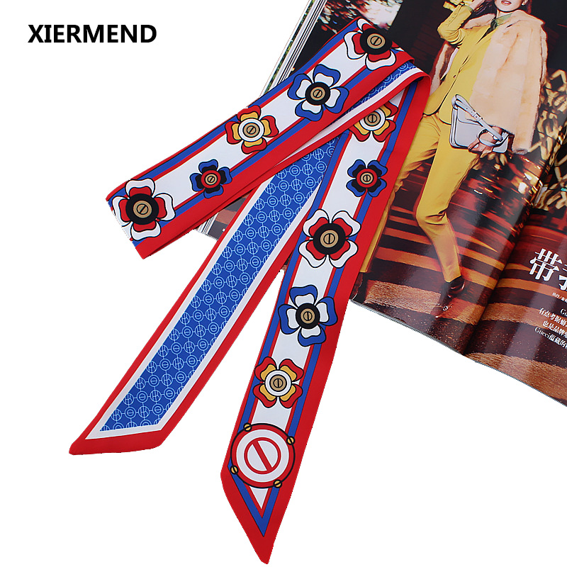 2018 ,120cm*5 Lengthened Double-sided Classic Flower Simulation Silk Small Narrow Long Scarf Tied  Hair Band Head Skinny Scarves