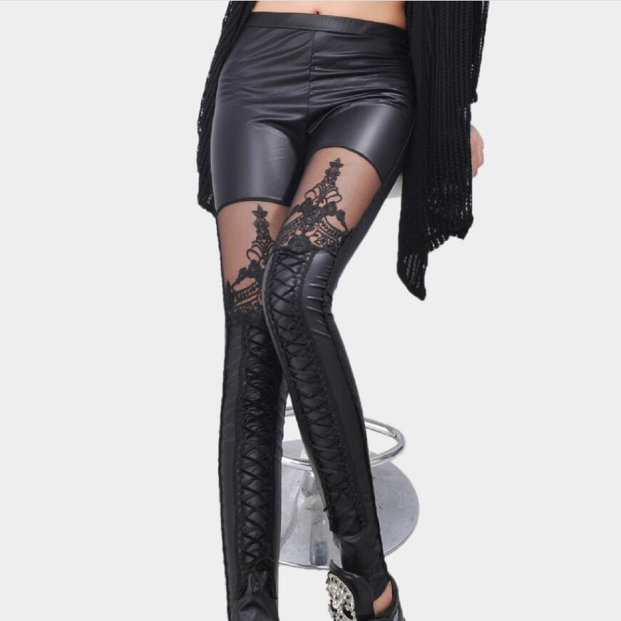 2018 Women  Black Legins Punk Gothic Fashion Women Leggings Sexy PU Leather Stitching Embroidery Hollow Lace Legging