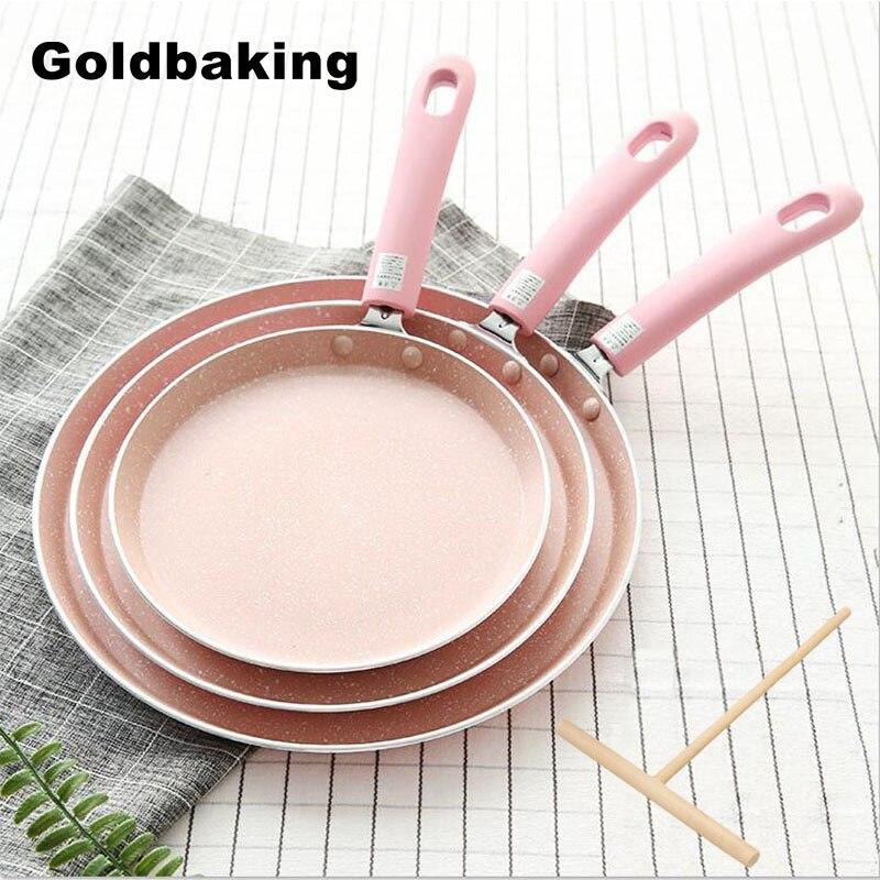 Goldbaking grande pan crepe 6/8/10 Polegada antiaderente resistente a riscos forjados panelas de panqueca de alumínio espalhador de massa incluído