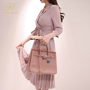 Image 4 - H Han Queen Womens 2019 New Notched Neck Pleated Dress Draped Lace Up Bow A line Dresses OL Elegant Work Wear Business Vestidos