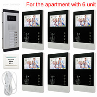 New Arrival Door Phone Video Intercom For 6 Apartments Entry Intercom System 6V6 Free Shipping 2