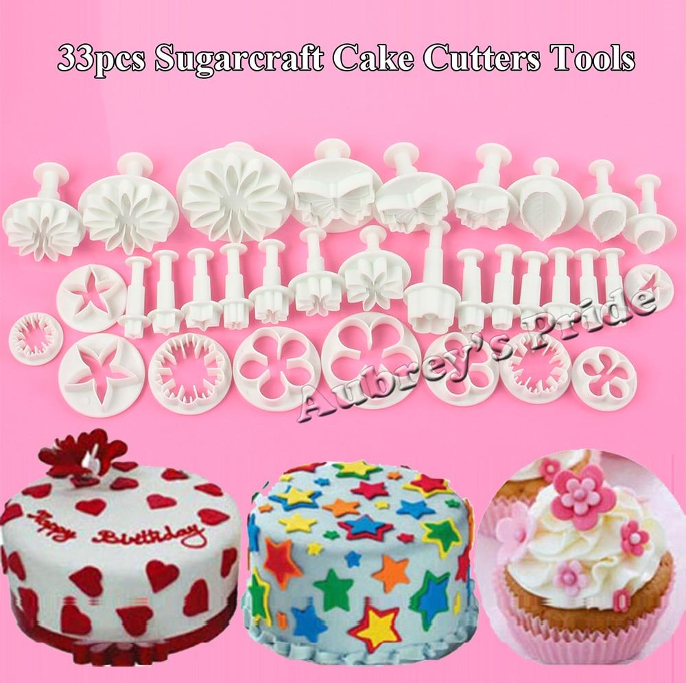 DIY 33PCS Cake Fondant Sugarcraft Mold Plunger Cutters Decorating Mould Tools