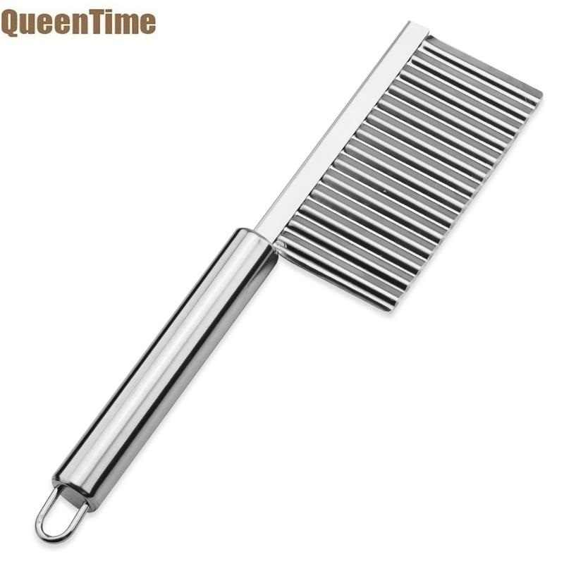 Queentime Stainless Steel Pemotong Bergelombang Keju Mentega Slicer Sayuran Buah Cutter Salad Chopper French Fries Pisau Alat Dapur