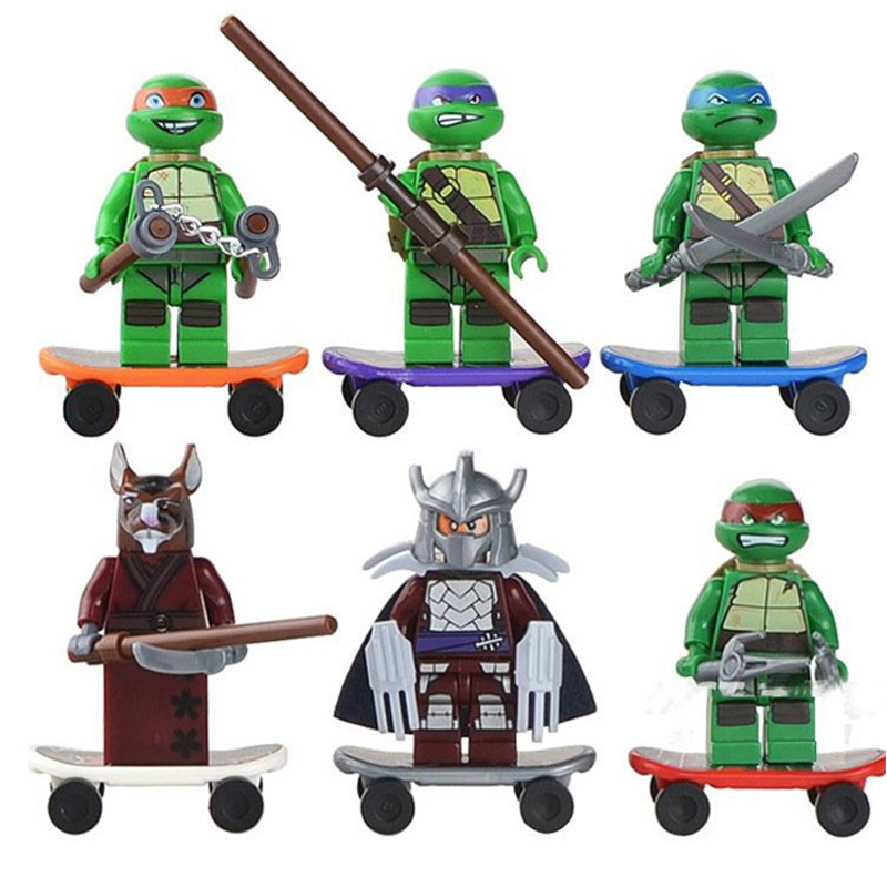6pcs Figure Leonardo Raphael Michelangelo Donatello Splinter Turtles Cartoon Character Building Blocks Toys For Children Gift