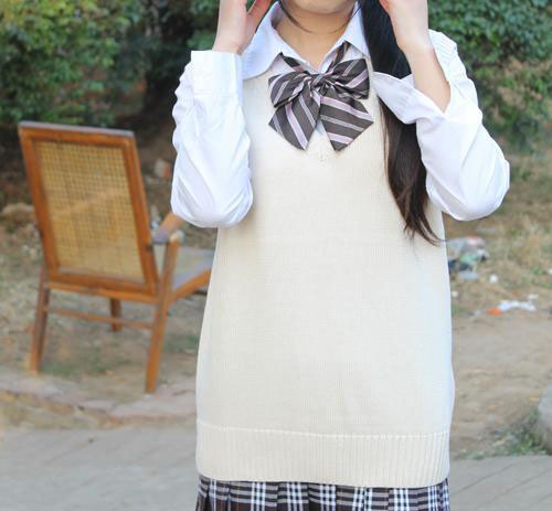 Cosplay K-ON Qollu sviter Vest geyimlər V-boyunlu Yapon Liseyi forma - Qadın geyimi - Fotoqrafiya 3