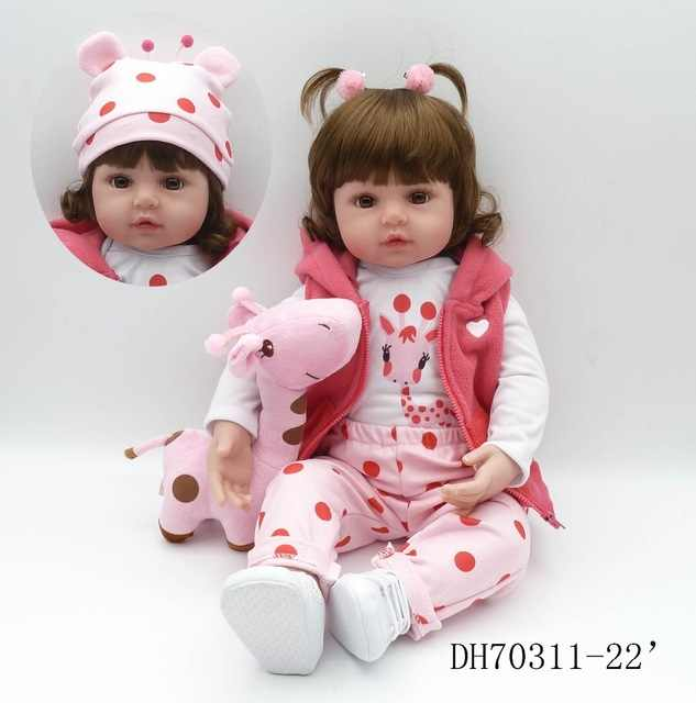47 centímetros bebe reborn bebês realidade suave newborn renascer bebê silicone boneca presente de Natal das crianças lol companheiro