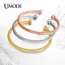 UMODE Luxury Cuff Bracelet Gold Rose Gold White Gold Color Bracelets Bangles Set For Women Fashion