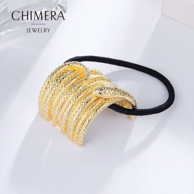 CHIMERA Trendy Gold Metal Snake Shape Rubber Band Ponytail Elastic Hairband  Hair Accessories for Women and Girls 3160457 38bdad156a0c