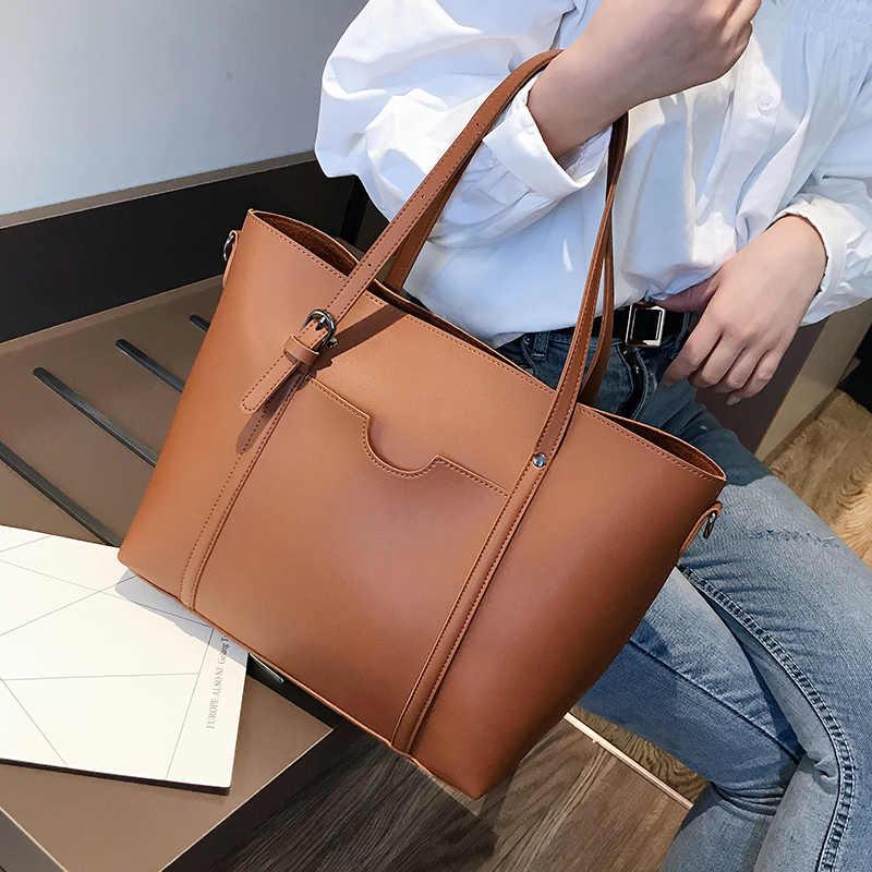 2019 büyük kadın çanta deri kadın omuz çantaları tasarımcı kadın postacı çantası bayanlar Casual Tote çanta ana kesesi