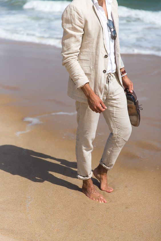 2017 Latest Coat Pant Designs Beige White Linen Men Suit